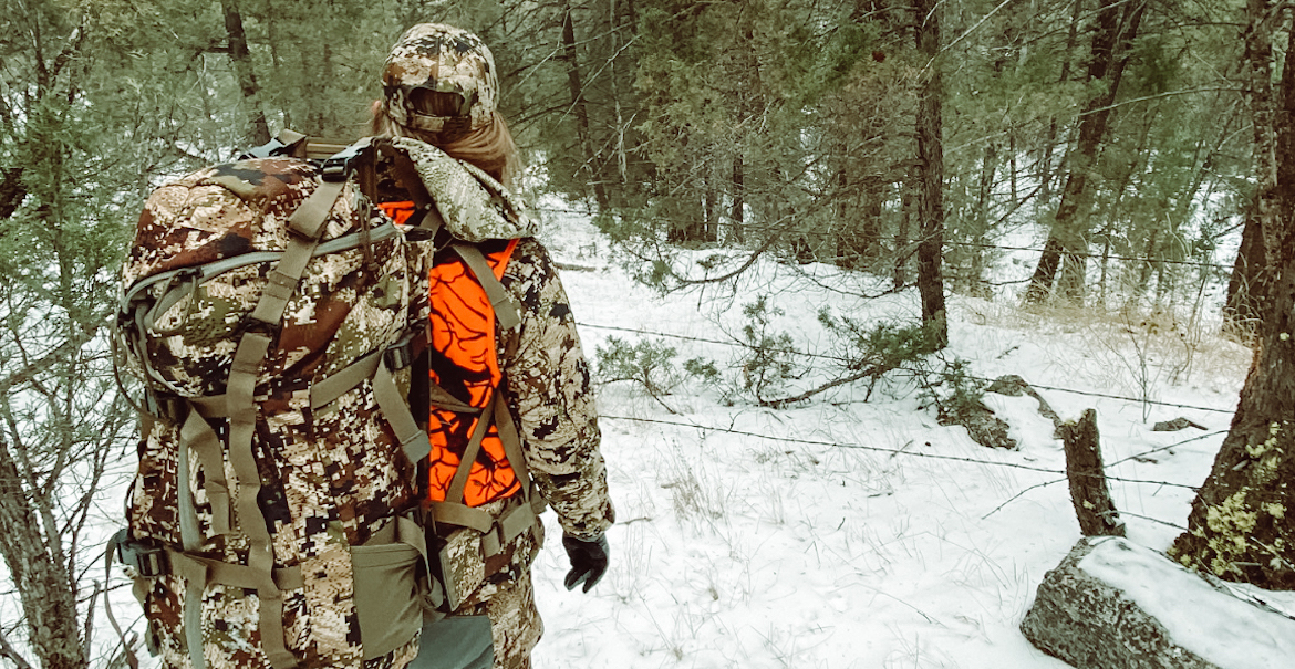 Mallory Walser snaps a photo of hunting partner Jackie Holbrook while on their 2019 deer hunt
